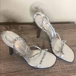 Giuseppe Zanotti silver 3 inch heels